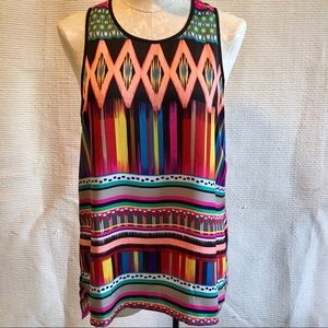 Nordstrom Joy Joy Bright Boho Print Sleeveless Top